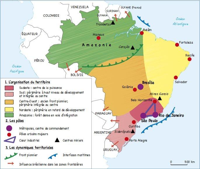 Carte Bresil Sertao.Croquis Organisation Et Dynamiques Spatiales Du Territoire