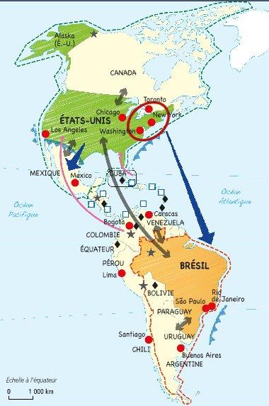 Carte Amerique Puissance Du Nord Affirmation Du Sud.L Amerique Puissance Du Nord Affirmation Du Sud